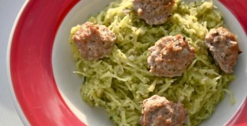 spaghetti-squash-meatballs-basil-pesto